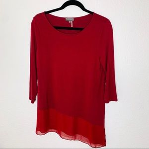 Vince Camuto Asymmetrical Burgundy Top Size Small